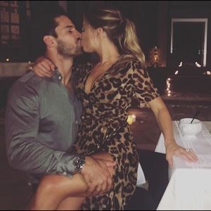 Jessie James Decker leopard wrap dress